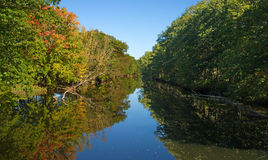 Fall foliage reflected on river in Unity Maine Stock Image