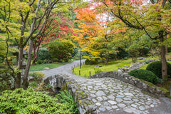Fall Foliage Stone Bridge Garden Stock Image