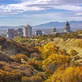 Fall foliage and view of downtown Salt Lake City stock photo
