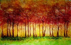 Fall Forest. Colored pencil rendition of a forest in fall colors with golden light coming from the center Royalty Free Stock Image