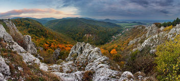 Fall forest mountain panorama Royalty Free Stock Photos
