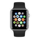 Fall för silver för Apple klockasport Aluminum med den svarta sportmusikbandet Arkivbilder