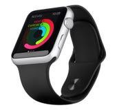 Fall för silver för Apple klockasport Aluminum med den svarta sportmusikbandet Arkivfoton