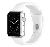 Fall för silver för Apple klockasport Aluminum med den vita sportmusikbandet Fotografering för Bildbyråer