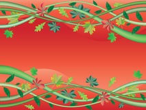 Fall Frame. Vector image of autumn frame with leaves and plants on red background Royalty Free Stock Photography