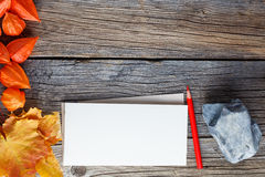 Fall frame backgrount with sketchbook for notes Royalty Free Stock Images