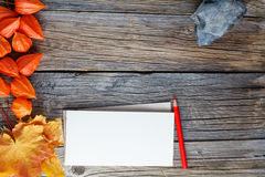 Fall frame backgrount with sketchbook for notes Royalty Free Stock Photo