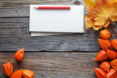 Fall frame backgrount with sketchbook for notes Stock Images