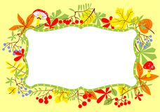 Fall frame illustration with leaves, berries and mushrooms. Stock Images