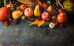 Fall fruits and vegetables on dark rustic wooden background, top view,border. Autumn harvest concept Royalty Free Stock Images