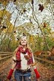 Fall fun girl stock photos