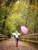 Fall fun girl Stock Images