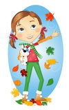 Fall fun with girl & dog. Tween girl playing in falling leaves with her stuffed dog Royalty Free Stock Images