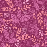 Fall garden seamless pattern background. Vector autumn garden seamless pattern with decorative fall plants on purple background stock illustration