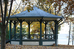 Fall Gazebo on the Lake. Gazebo in the fall on the shore of Lake Ontario in Oakville Stock Photography