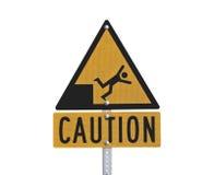 Fall-Gefahr-Achtung-Zeichen Lizenzfreie Stockfotos