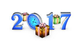 Fall gifts. Happy New Year 2017. Clock, midnight 12 o`clock. stock video footage