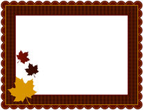 Fall Gingham Frame. Gingham patterned frame with scalloped border designed in Fall theme colors with falling leaves Stock Photo