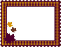 Fall Gingham Frame. Gingham patterned frame with scalloped border designed in Fall theme colors with falling leaves Royalty Free Stock Photography