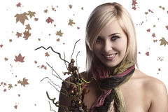 The fall girl with bouquet Royalty Free Stock Photos