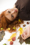 The  fall girl with red hair Stock Photo