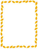 Fall Golden Elm Leaf Frame or Border. Simple autumnal border composed of series of gold elm leaves Stock Images