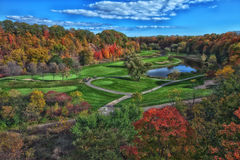 Fall Golf Course. A beautiful fall view of the Glen Abbey Golf Course in Oakville Ontario in full autumn colours Royalty Free Stock Photos