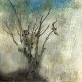 Fall From Grace. Woman in dead tree. Photo based mixed medium art Royalty Free Stock Photos