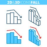 The fall graph. Flat and isometric 3d outline icon set. Business decrease, decline, recession line pictogram collection. Vector linear infographic elements for Stock Image