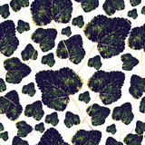 Fall green leaves, seamless pattern Stock Image