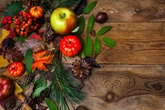 Fall greeting with acorn on wooden table Stock Images