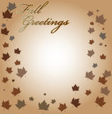 Fall Greetings Vector Background. Background with leaves and fall greetings text Stock Photo