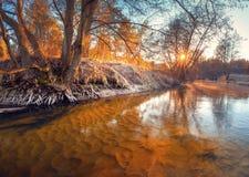 fall Hösten landskap Nedgångmorgon Forellflod med klart vatten fotografering för bildbyråer