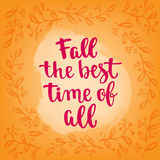 Fall handwritten brush calligraphy and autumn motives. Lettering and decorativa leaves. Stock Image