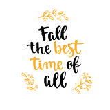 Fall handwritten brush calligraphy and autumn motives. Lettering and decorativa leaves. Royalty Free Stock Image