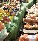 Fall harvest. Assortment of fruits and vegetables in an open air market Stock Images