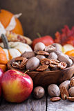 Fall harvest concept - nuts and pumpkins Royalty Free Stock Image