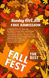 Fall harvest festival banner with autumn leaf. On wooden background. Orange maple leaf, red foliage of forest tree, acorn branch and wheat ear poster with text Stock Image