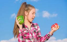 Fall harvest homegrown vegetables. Vegetarian concept. Which pepper would you pick. Kid girl hold red and green peppers. Sky background. Child presenting kinds stock image