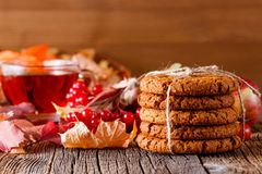 Fall harvesting on rustic wooden table with oat cookies Stock Image