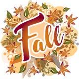 Fall - Herbstlaub ringsum Fahne lizenzfreie abbildung