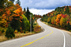 Fall highway. Fall scenic highway in northern Ontario, Canada Stock Photo
