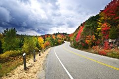 Fall highway. Fall scenic highway in northern Ontario, Canada Stock Images