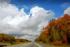 Fall highway. Divided highway in the fall Stock Images