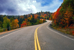 Fall highway. Fall scenic highway in northern Ontario, Canada Royalty Free Stock Photo