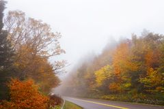 Fall highway in North Carolina mountains. Stock Image