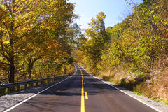 Fall Highway Scene. Highway through the country in West Virginia Royalty Free Stock Photography