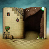 Fall in hole. Conceptual background  with  magical book Wonderland . Computer graphics Royalty Free Stock Photography