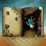Fall in hole. Conceptual illustration with  magical book Wonderland and the falling girl  . Computer graphics Royalty Free Stock Photos