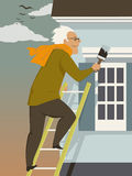 Fall house maintenance. Middle age man doing paint touch-up at the exterior of his home in autumn, vector illustration Stock Photography